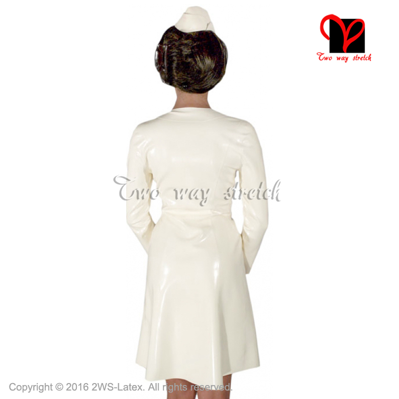 Sexy Latex Nurse Dress with hat headgear Rubber doctor uniform long sleeves Playsuit Medical Bodycon button front size QZ-095