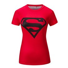 Women Superman Tops T Shirts Superhero Fitness Tights Under Tees