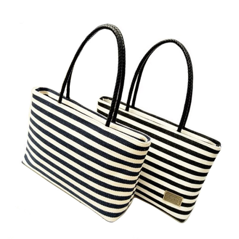 Fashion Black and White Striped Design Female Top Handle Handbag Quality Canvas Women s Shoulder Bag