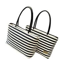 Fashion Black and White Striped Design Female Top Handle Handbag Quality Canvas Women s Shoulder Bag
