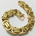 12/15mm Heavy Jewelry Cool 316L Stainless Steel Gold Plated Byzantine Chain Tone Men's Branelets Bangle Top Quality 8-11inch