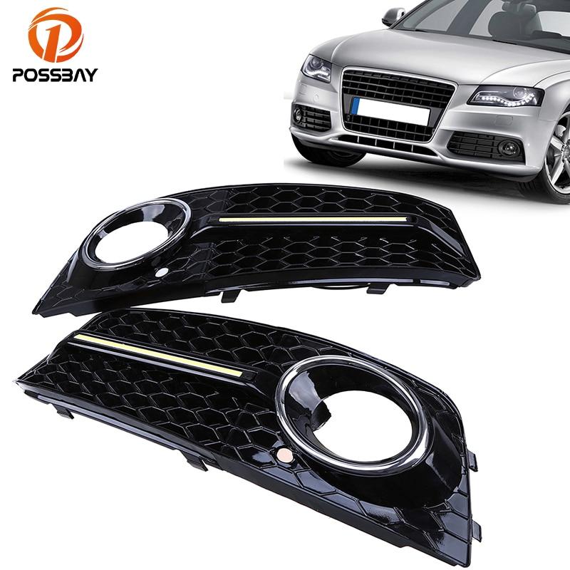 цена на POSSBAY Car LED DRL Daytime Running Light Front Fog Light Cover DRL LED Grille for Audi A4/B8 2007-2011 Pre-facelift