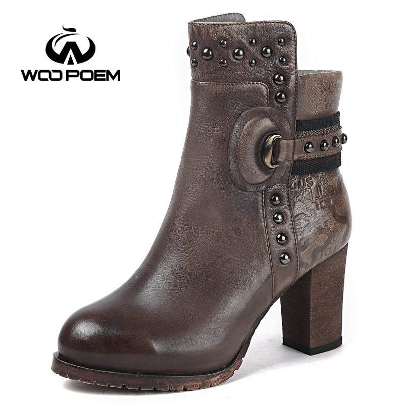 Фото WooPoem Brand Genuine Leather Boots Winter Shoes Woman High Heel Ankle Boots Motorcycle Boots Retro Handmade Women Boots X786-T2