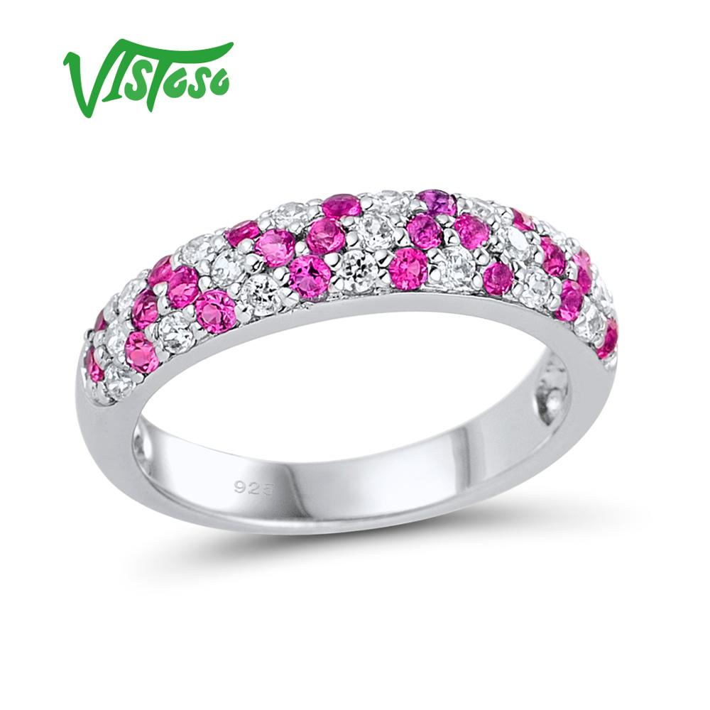 VISTOSO Silver Rings For Women Shiny Red Spinels 925 Sterling Silver White CZ Stones Wedding Anniversary Party Fine JewelryVISTOSO Silver Rings For Women Shiny Red Spinels 925 Sterling Silver White CZ Stones Wedding Anniversary Party Fine Jewelry