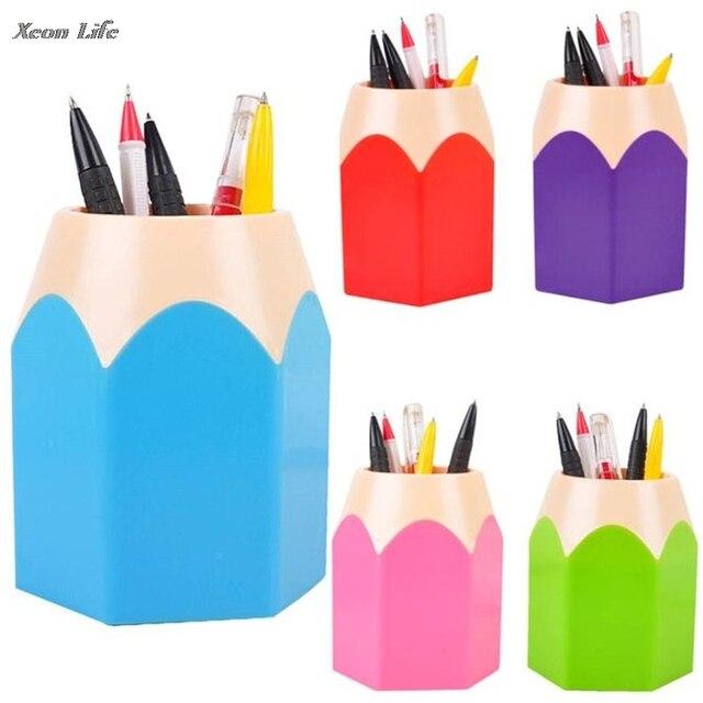 ISHOWTIENDA 7.5*10.5 CHot maquillage brosse Vase Pot à crayons porte-stylo papeterie stockage Caja De Lapices enfants école outil bureau cadeau