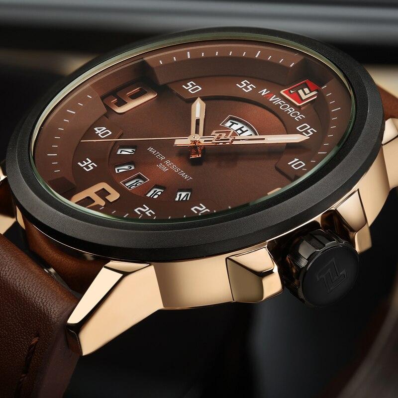 NAVIFORCE Brand Fashion Sports Watches Men Analog Quartz wristwatches Man Leather Waterproof Date Clock Male Relogio Masculino цена 2017