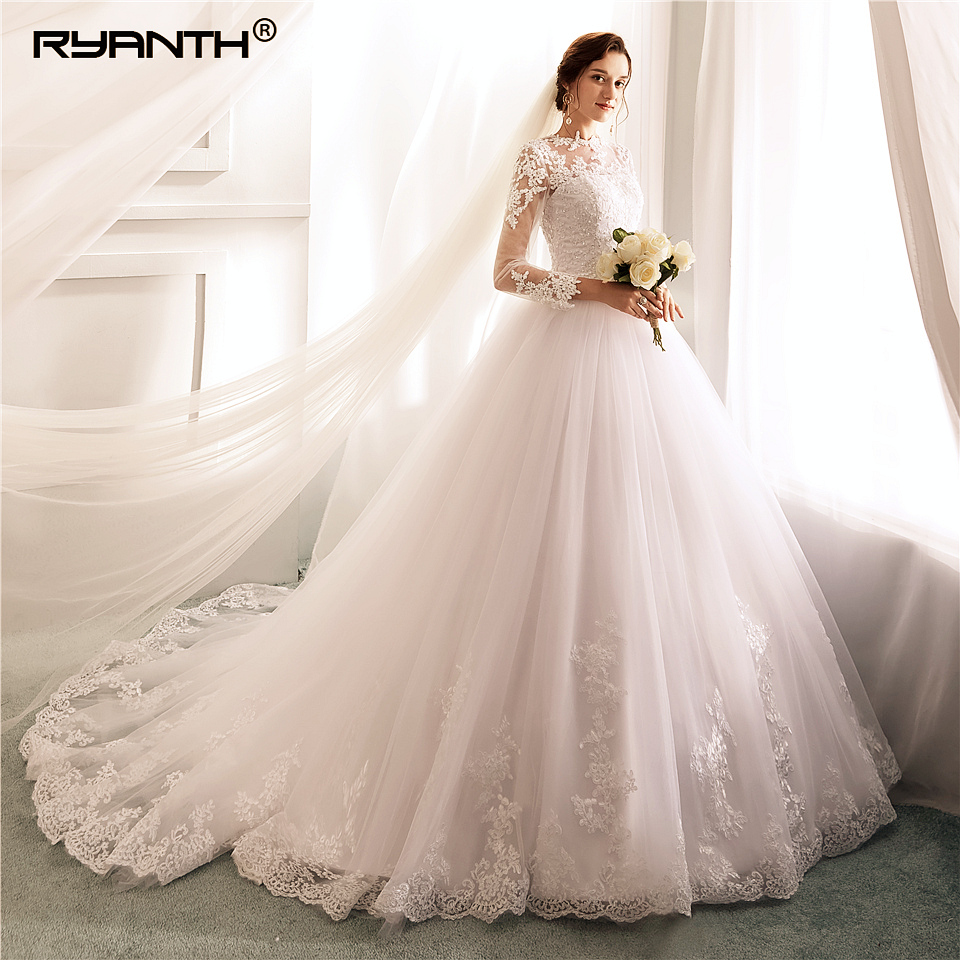 Wedding Gowns Online Cheap: Vestidos De Novia Cheap Long Sleeve Lace Ball Gown Lace
