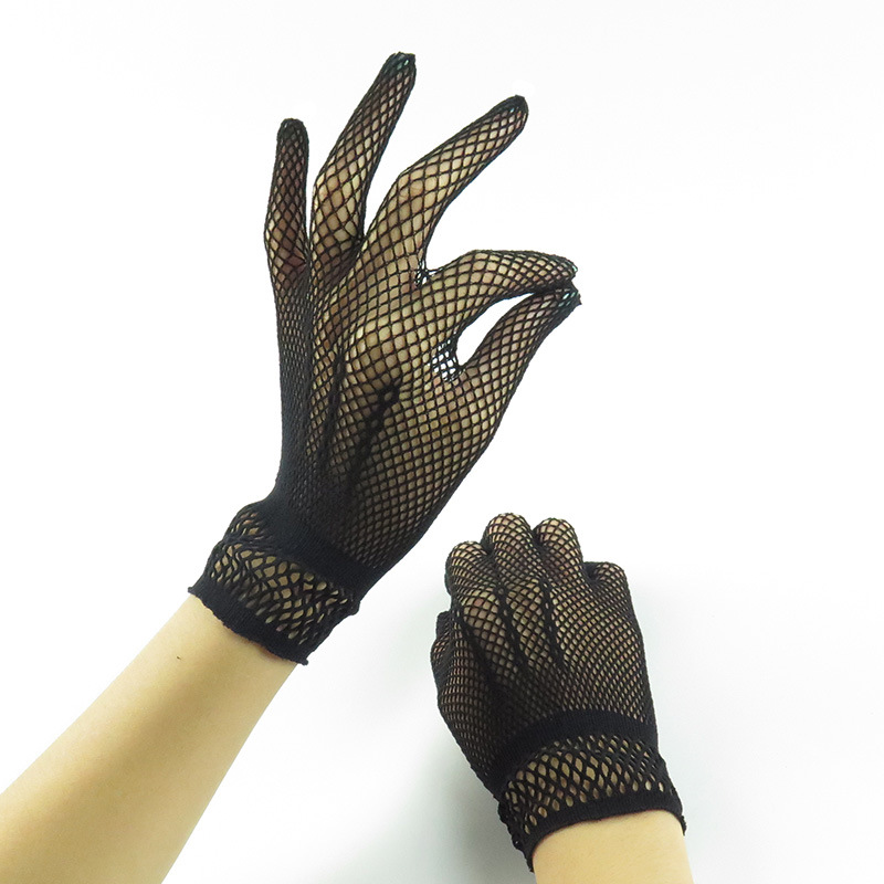 Women Lace Gloves Summer Driving Dance Gloves Mesh Fishnet Glove For Girls Black White Mittens Guantes