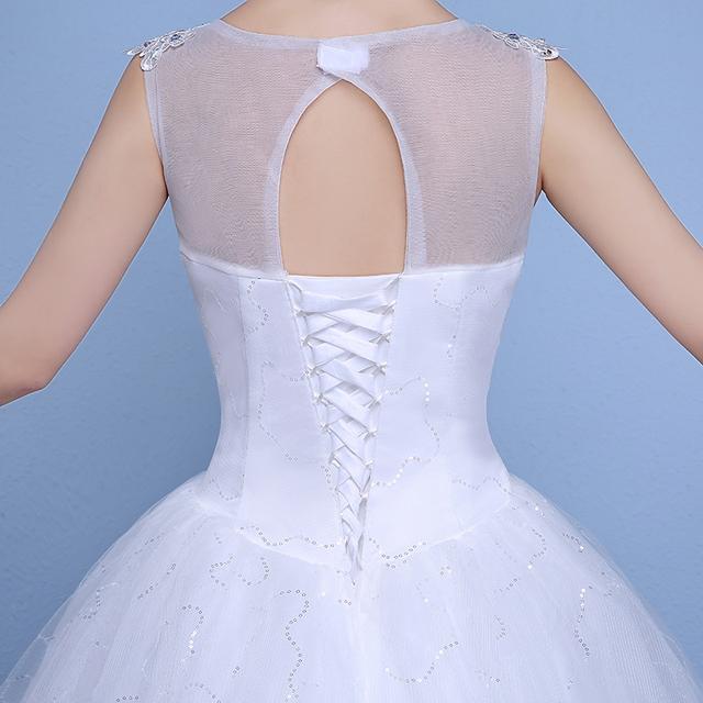 Sequins Lace V-neck Wedding Dresses Cheap Floor Length White Bride Gowns Custom Made Vestidos De Novia XN177