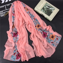 LARRIVED 2019 Plain Embroidered Floral Viscose Scarf Shawl From Indian Bandana Print Cotton Scarves and Wraps Muslim Hijab