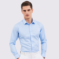 Men's Classic Non Iron Standard fit Long Sleeve Solid Dress Shirt Comfortable 100% Cotton Formal Business Easy Care Twill Shirts