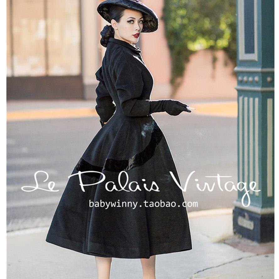 le S Taille Manteau 50 Black Style Hepburn De 4xl Vintage Long Abrigos Noir Audrey Hiver Pinup Grande Femmes Mujer 35 Palais Veste Laine Élégant dYqdwA