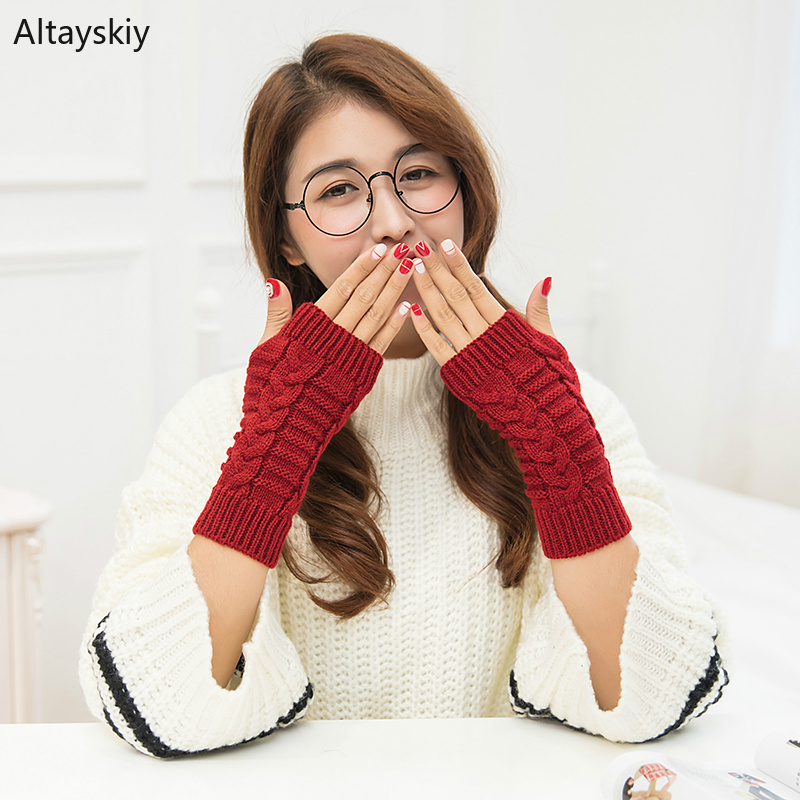 Arm Warmers Women Solid Twist Knitting Short Winter Warm Half-fingered Finger-less Womens Mitts Simple Leisure All-match Trendy