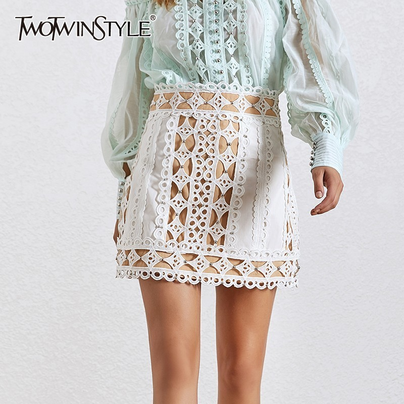 TWOTWINSTYLE Elegant Hollow Out Skirt For Women High Waist Beading Patchwork Mini Skirts Female Fashion Clothes 2019 Summer