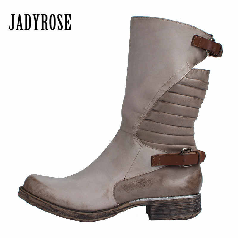 Jady Rose Vintage Mixed Color Ankle Boots for Women Genuine Leather Winter High Boots Female Straps Rubber Platform Martin Boot jady rose ankle boots for women straps buckle genuine leather autumn boots platform short booties female flat rubber martin boot