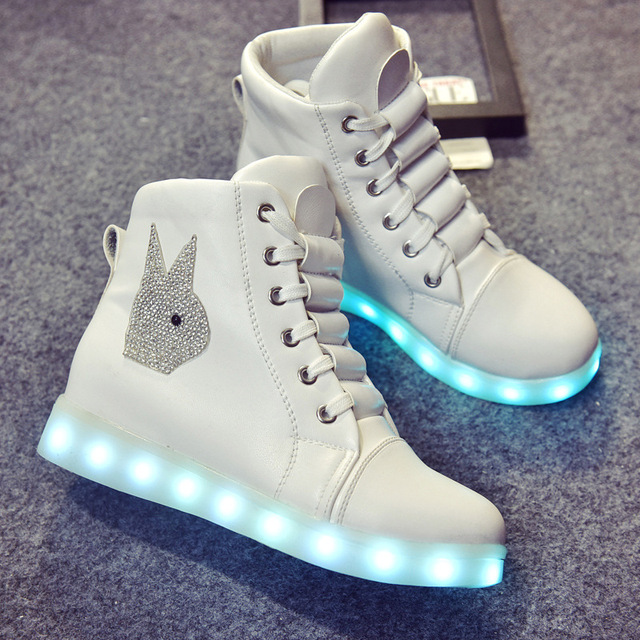 367842b0809 2016 Womens 7 Colorful Led Shoes Light High Top Glowing Casual Shoes With New  Simulation Sole Charge For Adults Neon Basket