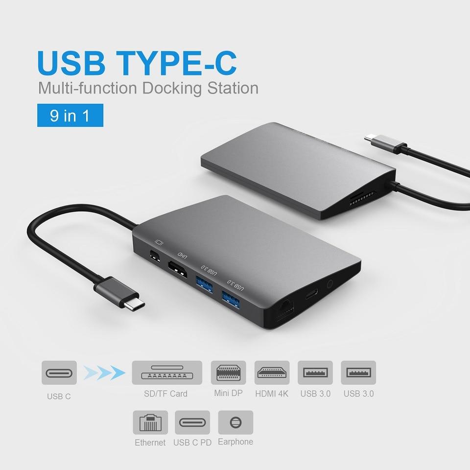 USB C 3.1 HUB vers HDMI 4 K Mini adaptateur DP avec Gigabit Ethernet Type C répartiteurs Audio de puissance pour MacBook Samsung S9 Huawei P20