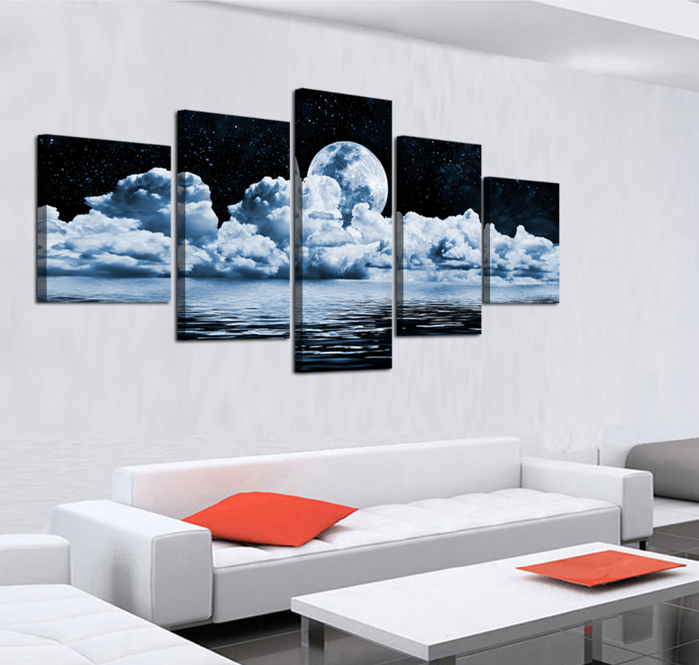 2017 Sale Paintings Cheap wall frames 5 Panels Moon Canvas Print ...