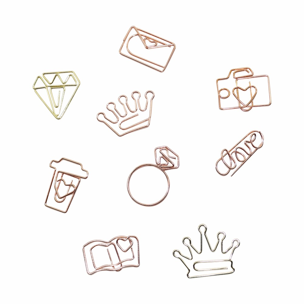 New Metal Diamond Crown Envelope Coffee Cups Bookmarks Paper Clip Ticket Holder Marking Supplies Office Supplies 5pcs/lot