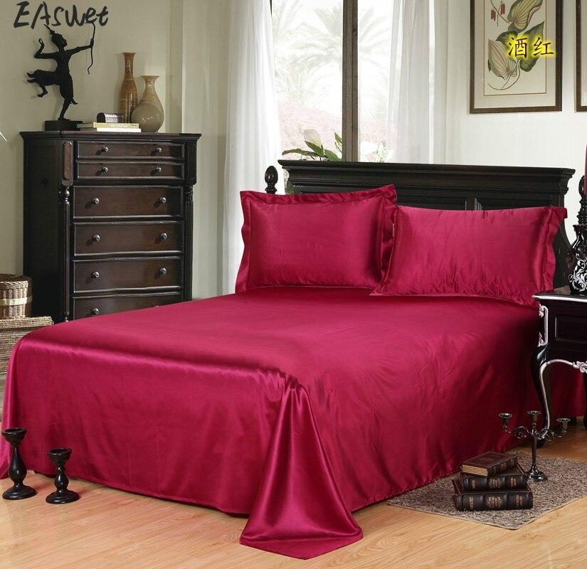 Comfortable Satin Silk Bed Seet King Queen Twin Size Solid Black Flat Bedsheet Bedspread High