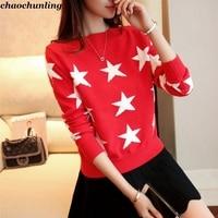 2017 Autumn New Female Short Bottom Knit Sweater Korean Version Lady Slash neck Stars Pattern Jacquard Sweater Fashion Pullovers