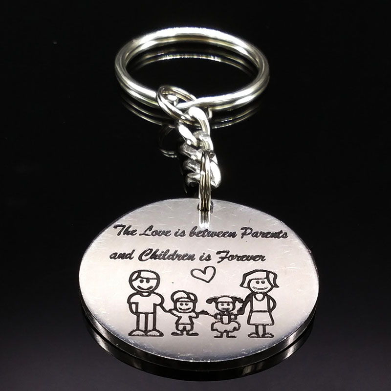 Family Silver Color Stainless Steel Keychain For Women Love in The Parents Children Key Chain Jewelry Mothers Day Gift K72285B