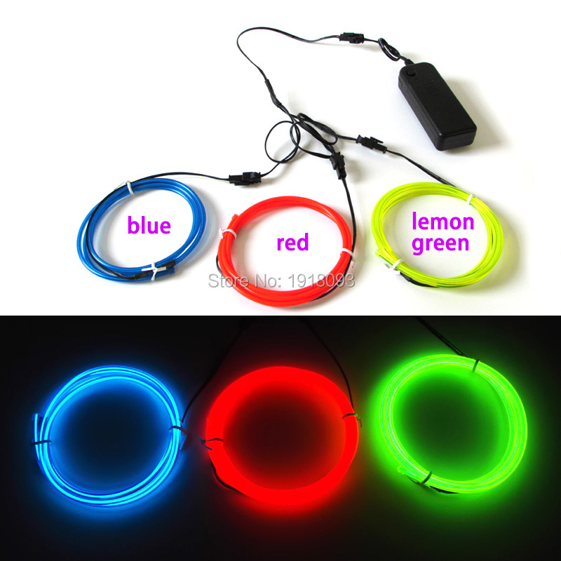 For LED Strip Modelling Decor 3pieces 1M Different colors 3.2mm Flexible EL Wire Rope Tube Led thread Neon Light with DC-3V