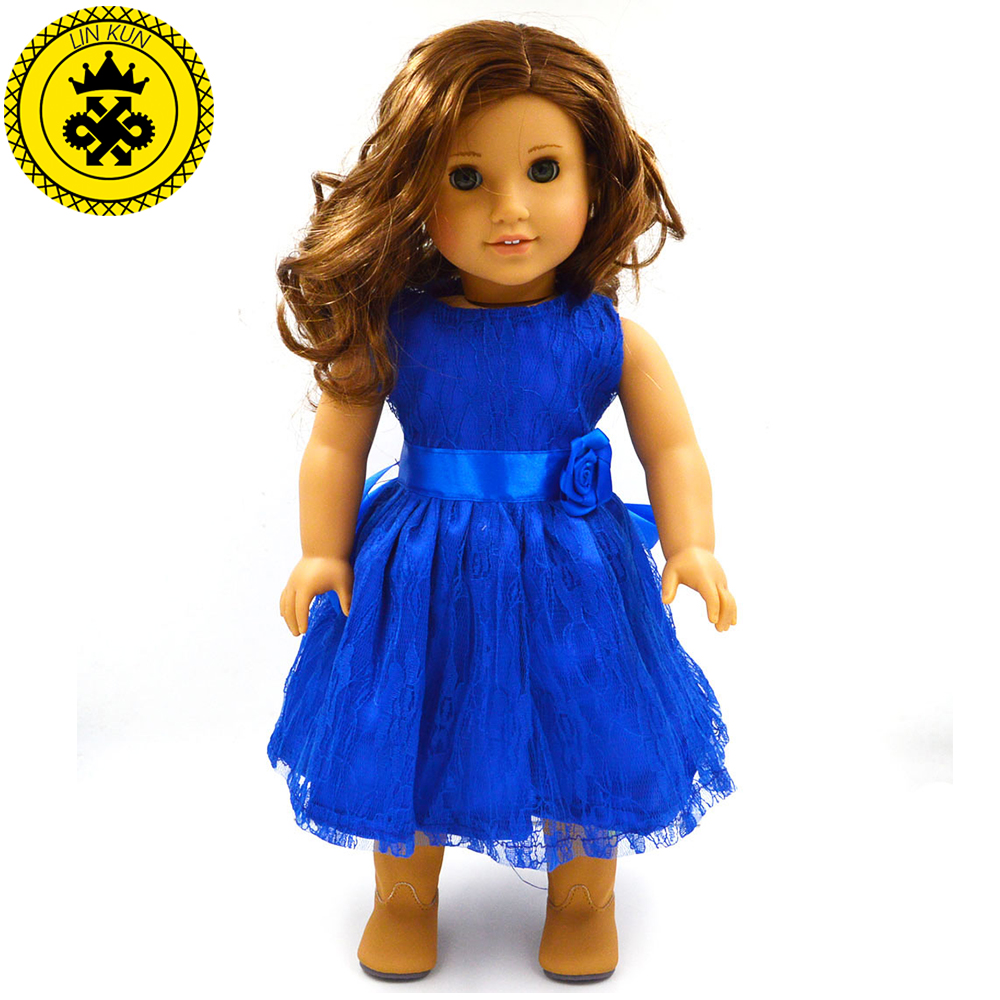 Handmade 15 Colors Princess Dress Doll Clothes for 18 inch Dolls American Girl Doll Clothes and Accessories D-9 9 colors american girl doll dress 18 inch doll clothes and accessories dresses