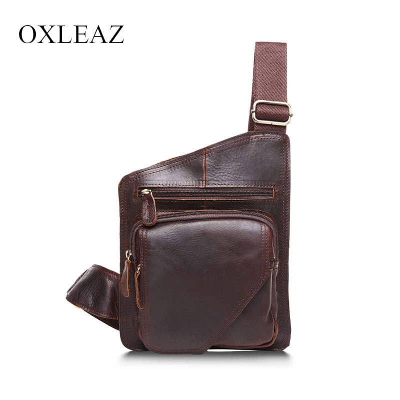 цена OXLEAZ Vintage Sling Bag Casual Travel Crazy Horse Leather Mens Chest Bag Genuine Leather Small Messenger Crossbody Bags For Man
