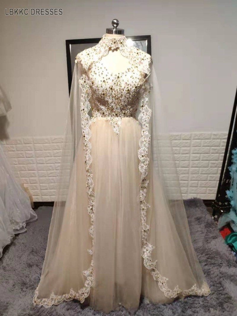 2019 Elegant Robe Soiree Dubai Kaftan Dress Evening Gown With Cape Gold Applique Tulle Green Luxury Sexy Evening Dress Long Hot