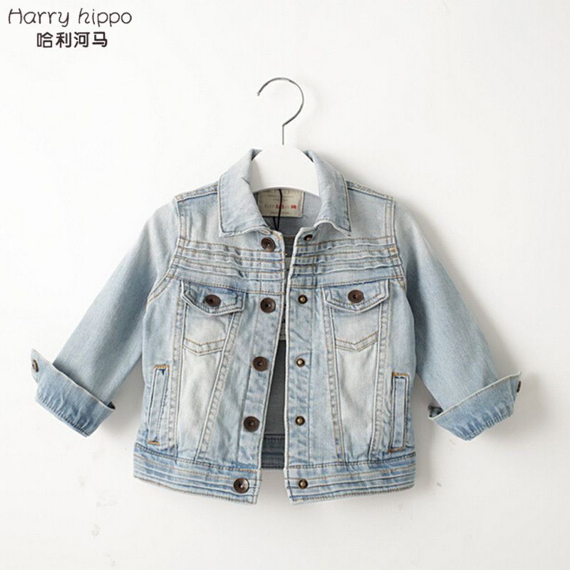 49b3713ba Free Shipping Autumn Baby Girls Denim Jacket Cute Fashion Kids Korean Style  Coat Light Wash Jeans TP0088