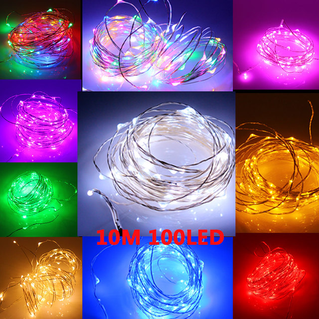 Fashion Waterproof 10M 100 Led Starry Lights Strings Fairy Lamp + Power Adapter 110V/220V Xmas Party Christmas Decoration