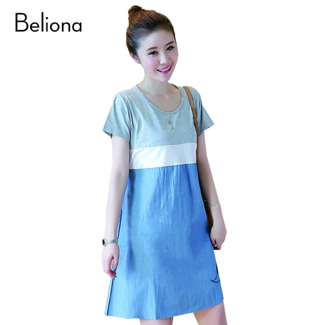 Short Sleeve Cotton Splicing Denim Pregnancy Dresses for Summer Casual Maternity Clothes for Pregnant Women Pregnant Dresses