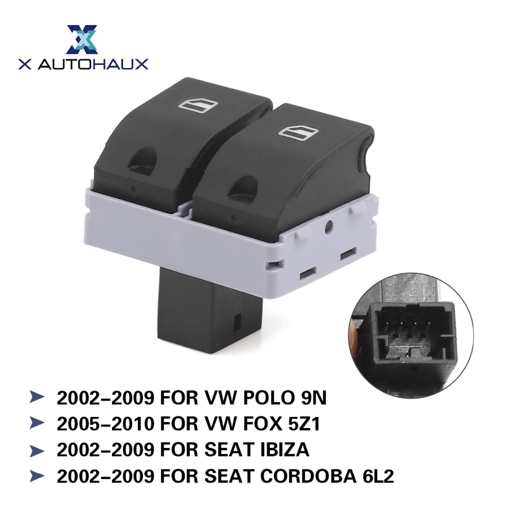 X AUTOHAUX Front Left Right Electric Power Window Master Switch 6Q0 959 858 For Volkswagen Polo 9N For SEAT IBIZA 2002 TO 2009 front left electric power window lifter master control switch for bmw 61319241915 6131 9241 915
