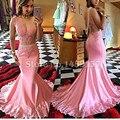 Rosa Sereia Vestidos Longos de Baile 2017 Illusion Corpete Applique Pérolas Sheer Formal Cetim Africano Mulheres Vestido Vestidos