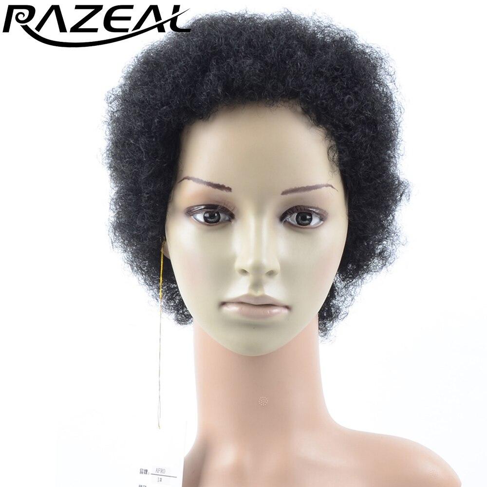 Razeal афро кудрявый вьющиеся синтетические парики короткие парики темно-Цвет жаропрочных волокна
