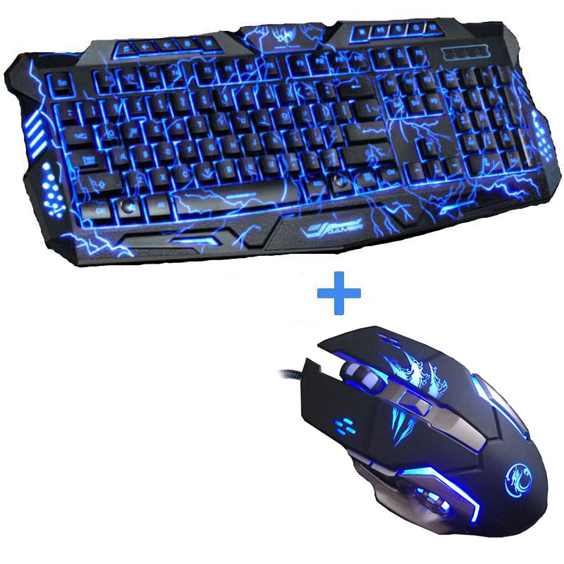 Russian english 3 Color LED Backlit USB Wired Laptop PC Computer Keyboard Mouse Combos Professional 7 Buttons Gaming Mouse