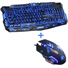 New Advanced Tri-color Backlight Gaming Keyboard Game Keyboard Mouse Combo 6 Buttons 3200 DPI Mechanical Pro Gaming Mouse
