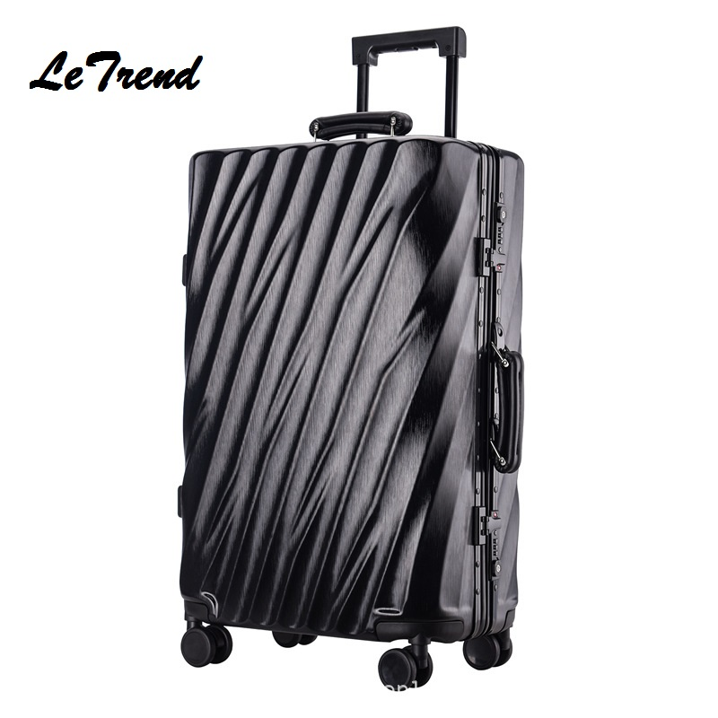 New 20 24 26 29 Inch Rolling Luggage Aluminium Frame Trolley Solid Travel Bag 20' Women Boarding Bag Carry On Suitcases Trunk