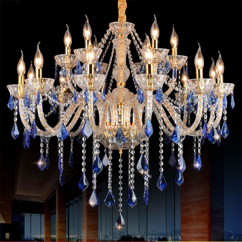 European luxury blue crystal chandelier living room dining room bedroom Mediterranean LED Candle Chandelier free shipping free shipping white blue chandelier living room candle lamps luxury acrylic crystal chandelier lights ac 100% guaranteed