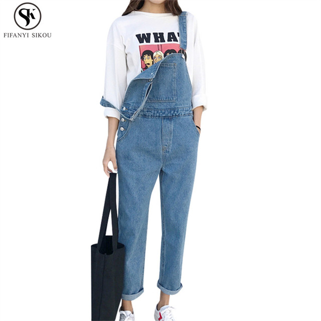 f063bf46d5b 2018 Spring Fashion Women s Harajuku Vintage Denim jumpsuit Women loose  Plus size Playsuit Female High quality Overalls LGP183C