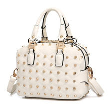 Rivet-studded Edgy Ladies Handbag 2016 New Designer Box-type Shoulder Bag Double Interlayer Zipper Pockets Bag Small Crossbody