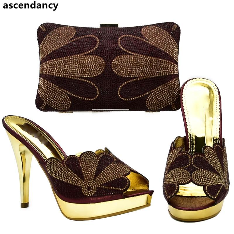 Mujer Nuevo Con Juego Diamantes Nigeriano Conjunto Bolsos wine Abg Para Zapatos purple Estilo Y En De Decorado oro Imitación green Italia Negro 66xrqg8