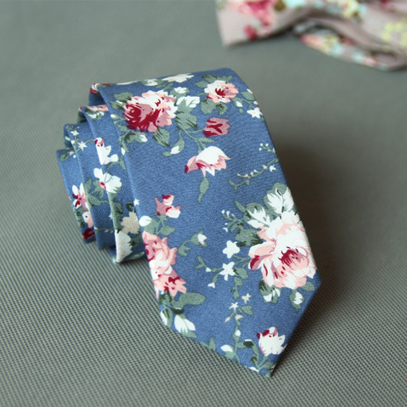 Mens Pretty Floral Neck Ties Printed Slim Skinny Ties for Men