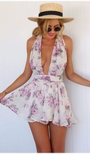 Summer Floral Print Backless Short Women Sexy Rompers Womens Jumpsuit Bodysuit Jumpsuits for Women Monos Largos De Mujer