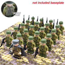 21pcs/set WW2 Allied Army Troops US Military Soldiers and Officer with Random Weapons Building Blocks Brick Toys for Kids(China)