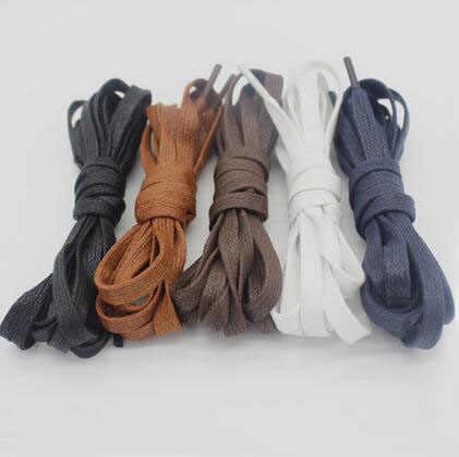 8bb457a6e ... 150cm Black White Waxed Flat Shoes Laces Unisex Men Adults Solid Thick  Flat Shape Rope Shoelaces ...