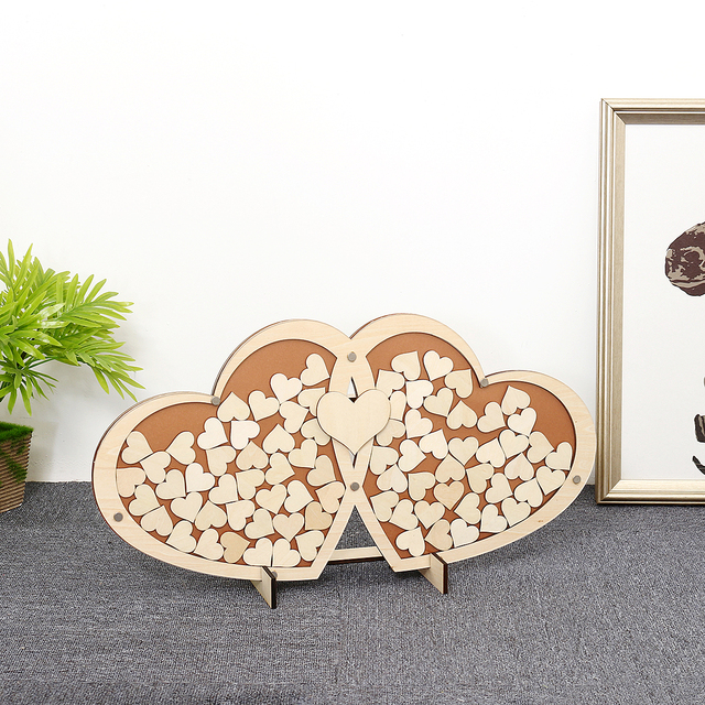 Personalised Wedding Party Guest Book Alternative Wooden Hearts Drop