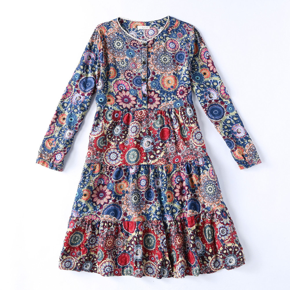 Cotton and Linen Colorful Flower Print Vintage Casual Party Dresses Spring Long Sleeve Knee-Length Button Loose Female Dress