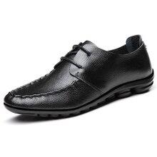 New Arrival Men Fashion Casual Spring Leather Comfortable Shoes Leather Men Shoe Soft Lacing Men Flats P111